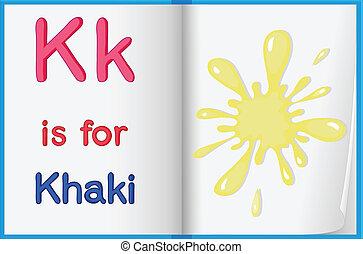 Color splash - Illustration of the letter K in a book