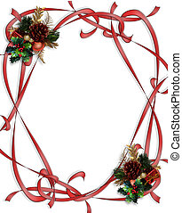 Christmas Ribbons Border - Image and Illustration...