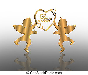 Valentines day Golden Cupids 3D - Image composition for...