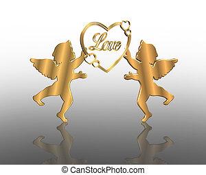 valentines, giorno, dorato, amorini, 3D
