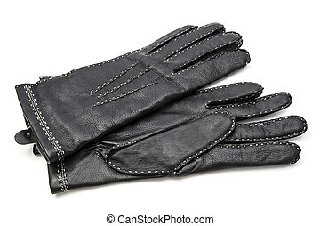 Black leather gloves isolated on white background