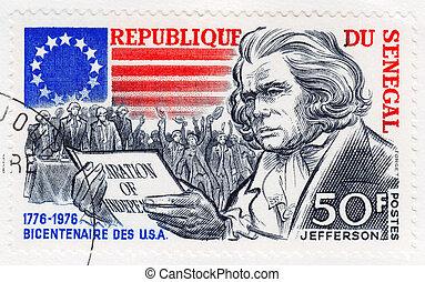 revolución, proclimation, Jefferson, 1976, -, senegal,...