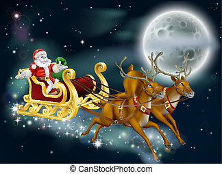 Santa on Delivering Gifts - A Christmas illustration of...