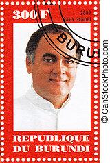 circa, francobollo, :, -, rajiv, Gandhi, Burundi, 2009,...