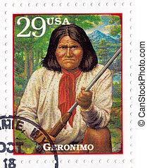 USA - CIRCA 1994 : Stamp printed in USA show Geronimo -...