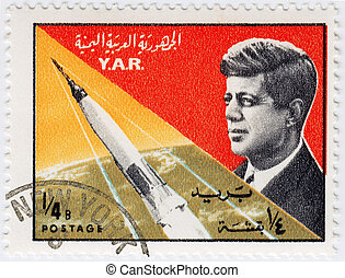 YAR - CIRCA 1970 : Stamp printed in YAR shows John F Kennedy...