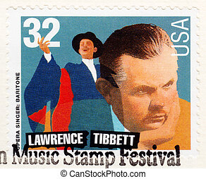 USA - CIRCA 1997: Stamp printed in USA , American Music...