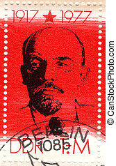 old germany stamp of the Soviet revolutionary leader...