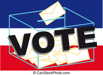 Vote - Ballot Box in a blue, white and red background
