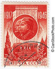 Revoluciones, líderes, ella, 1946:, estampilla, -, russia),...