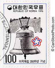 KOREA-, hacia, 1976:, estampilla, impreso, corea,...