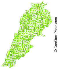 Map of Lebanon - Middle East - in a mosaic of little squares