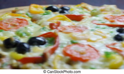.home pizza with tomato and eggplan