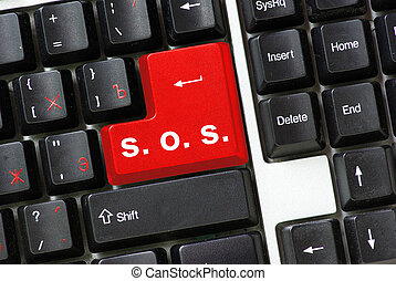 button SOS - computer button with sign SOS
