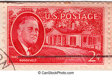 USA - CIRCA 1945: Stamp in USA shows Franklin Delano...