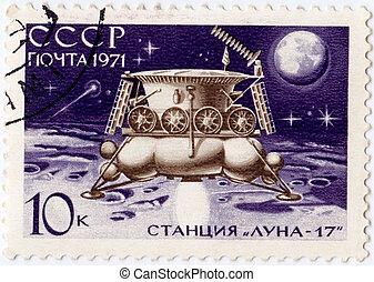 russia), ahora, 17, estampilla, (, -, 1971, luna, luna,...