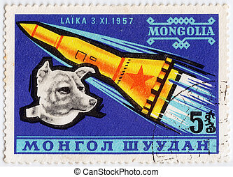 MONGOLIA - CIRCA 1980: stamp printed in Mongolia shows Laika...