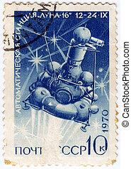 russia), :, 16, estampilla, -, luna, luna, U.R.S.S., (now,...