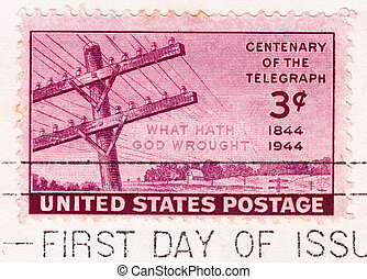USA - CIRCA 1944: Stamp printed in USA shows Centenary Of...