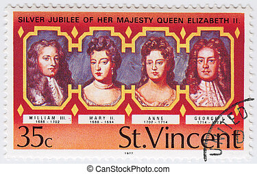 ST.VINCENT - CIRCA 1977: stamp printed in ST.Vincent shows UK King and Queen - William III, Mary II, Anne, George I, Silver Jubilee of Queen Elizabeth II, circa 1977
