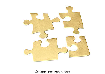 Gold puzzle on white background