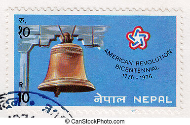 NEPAL - CIRCA 1976: Stamp printed in Nepal of American...