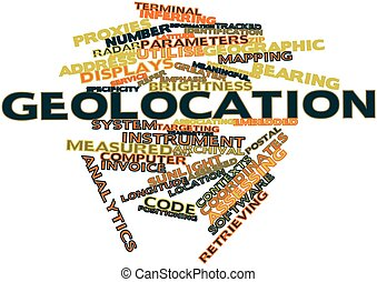 Geolocation - Abstract word cloud for Geolocation with...