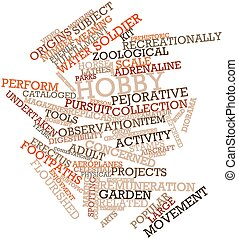 Hobby - Abstract word cloud for Hobby with related tags and...
