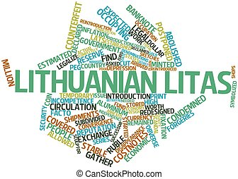 Word cloud for Lithuanian litas - Abstract word cloud for...