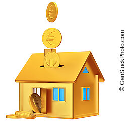 falling down euro coins to the money box