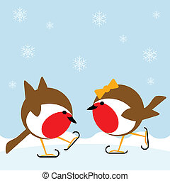 ice skating - two cartoon robin redbreasts ice skating in...