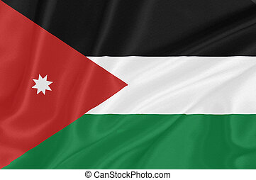 Flag of Jordan waving with highly detailed textile texture...