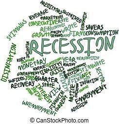 recesión, palabra, nube