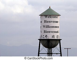 Water tower welcomes you in many languages