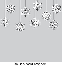 snowflakes - Hanging paper snowflakes. Christmas background