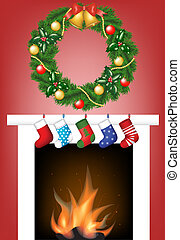 fireplace, socks and garland - Christmas card with fire...