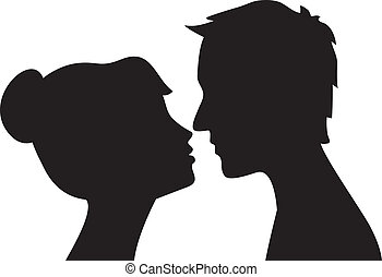 Woman and man kissing - Silhouette of man and woman head...