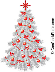 White christmas tree with  red decoration isolated on white