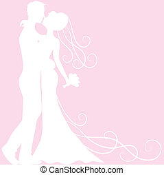 bride and groom silhouette - Wedding invitation card with...
