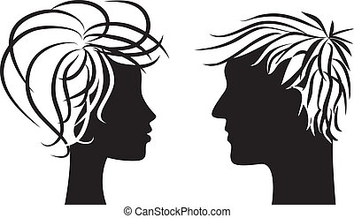 silhouette of man and woman - Profile silhouette of man and...