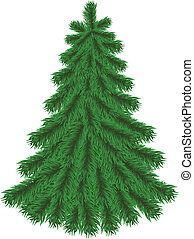Fir tree without Christmas decorations isolated on white