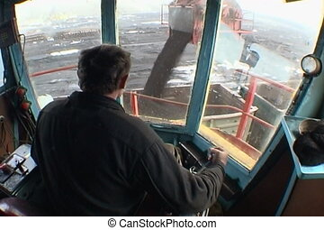 Coal mining - Booth of the excavator Coal loading