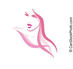 Beautiful woman portrait with long hair- illustration