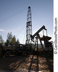 Drilling for oil - Mobile rig at work drilling the oil well