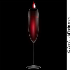 wine and poison - on a dark background are a glass of red...