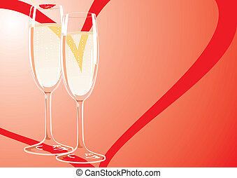 Two glasses of champagne at a frien