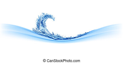 Cool water wave. Illustration on white
