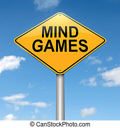Mind games. - Illustration depicting a roadsign with a mind...