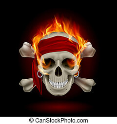 Skull in Flames - Pirate Skull in Flames Illustration on...