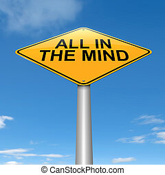 All in the mind - Illustration depicting a roadsign with an...